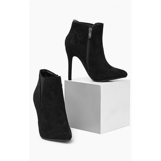 Dámska členková obuv čiernej farby na vysokom podpätku - fashionday.eu