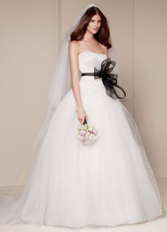 strapless taffeta gown with asymmetrically draped bodice scooped neckline and full ball gown tulle skirt
