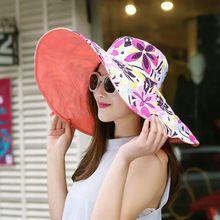 2016 Verano gran sombrero de ala playa sombreros para el sol para las mujeres protección UV mujeres caps sombrero con la cabeza grande plegable estilo dama de la moda de sol sombrero(China (Mainland))