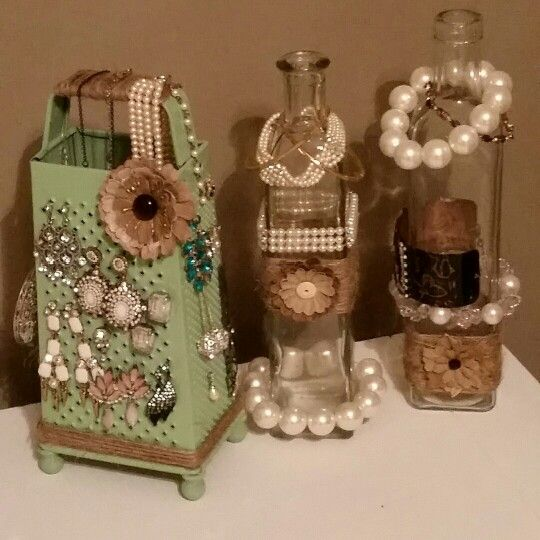 Upcycled DIY jewelry holders --  Vintage cheese grater & old bottles repurposed.
