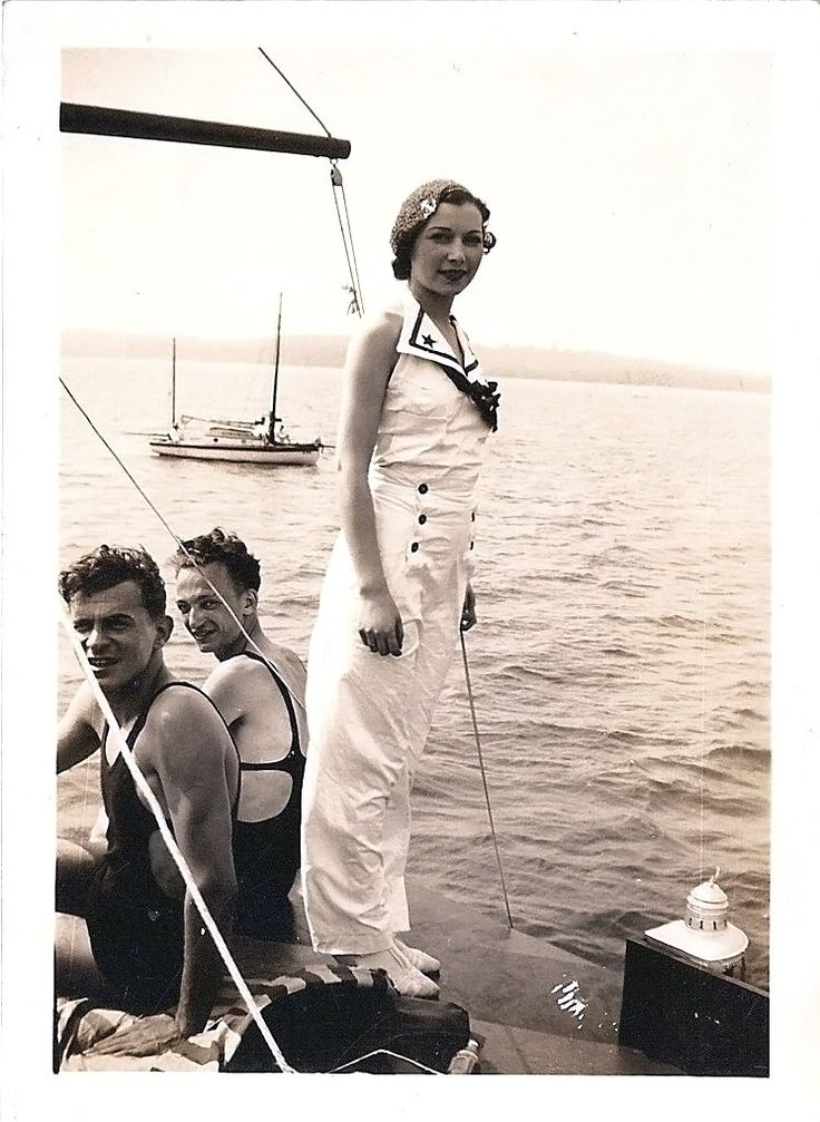 grandma rocking the nautical theme in the 1930s