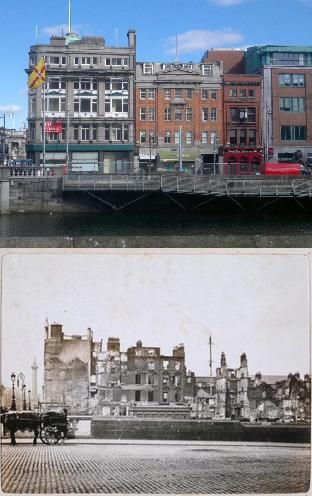 Eden Quay then & now looking across the Liffey from Burgh Quay. The devastation caused by the intense artillery and incendiary bombardment can be clearly seen here. A gunboat called 'The Helga' was used after being anchored by the British at Sir John Rodgerson's Quay. This area was also shelled heavily with incendiary shells from howitzers that had been brought up from Athlone earlier in the week.