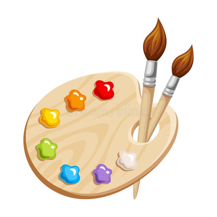 Art palette with paints and brushes vector illustration