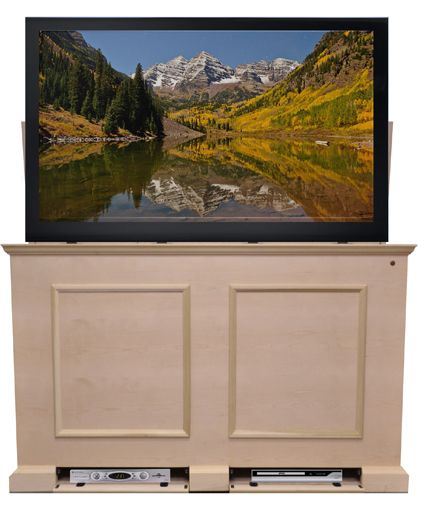 versatile birch wood and veneer unfinished pop up tv cabinet with a built in motorized whisper lift tv lift choose a custom finish or paint the cabinet