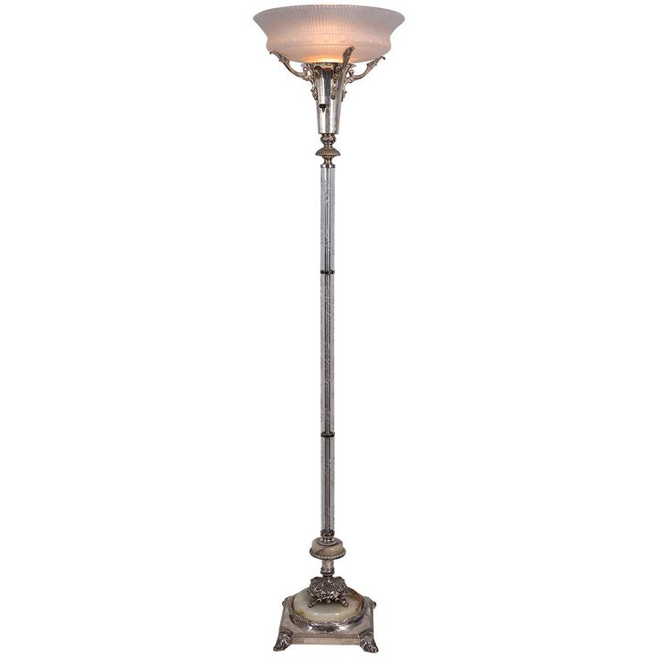 Silver Plated Torchiere Floor Lamp
