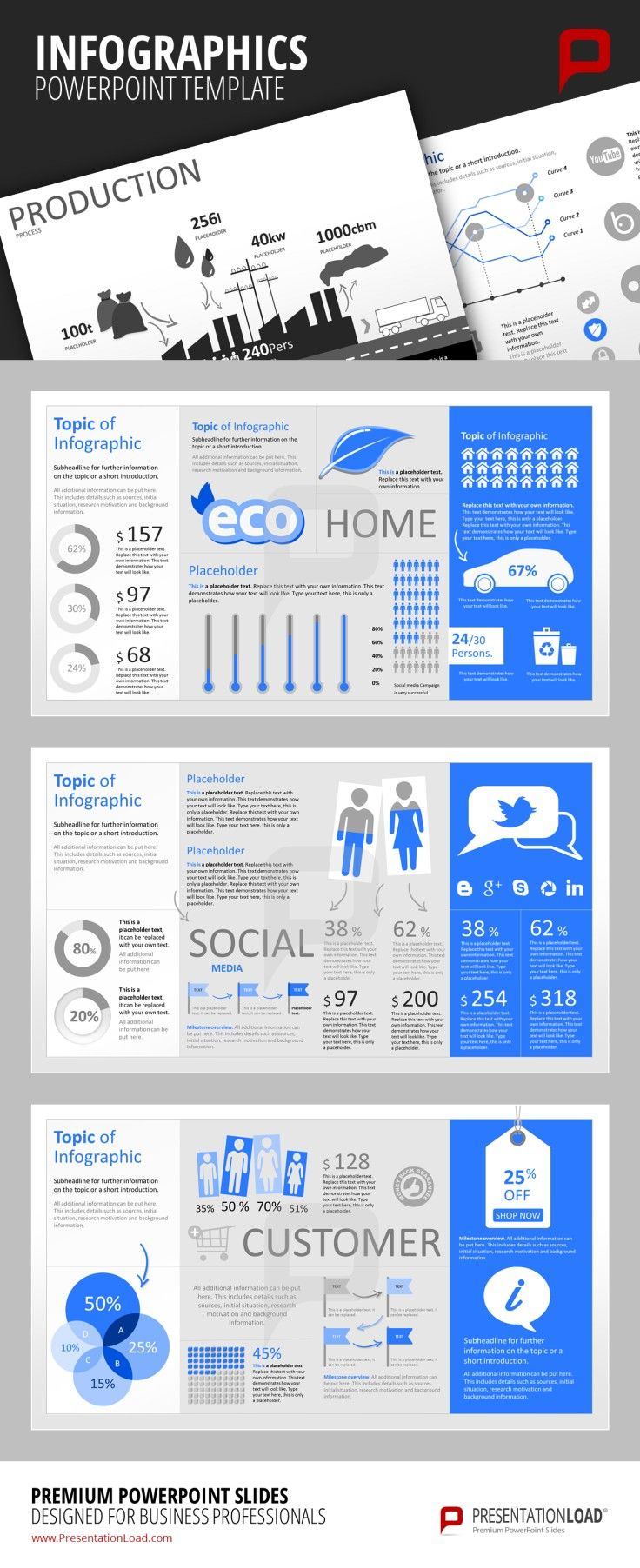 Infographic PowerPoint Templates Create marketing related infographics regarding the impact of Social Media Marketing strategies or to visualize customer behavior and related data. #presentationload www.presentationl...
