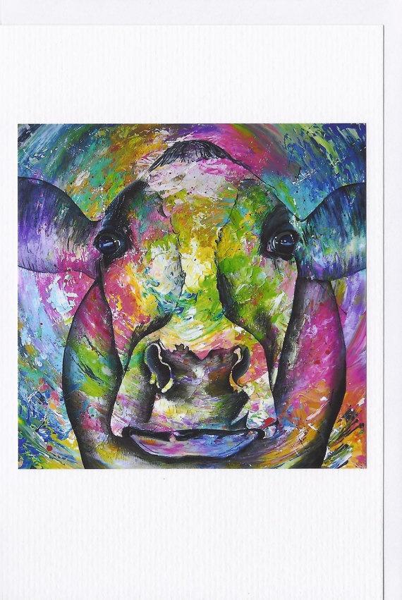Brandnew webshop Anita Ammerlaan!  Set van 4 dubbele wenskaarten koeien kunst door ArtAnitaAmmerlaan, €6,50