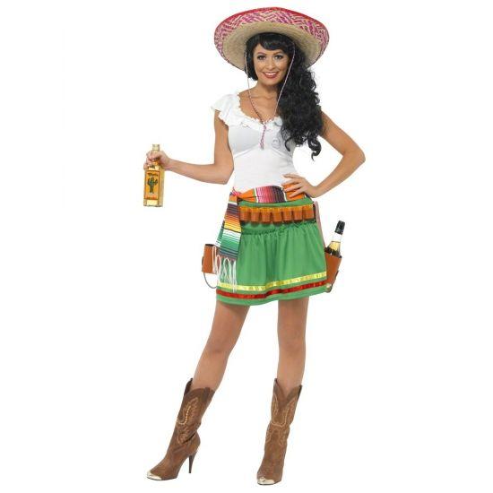 Tequila kostuum voor dames. Tequila verkleed kostuum voor dames dat bestaat uit het jurkje, de riem en de holsters. Exclusief sombrero, flessen en laarzen.