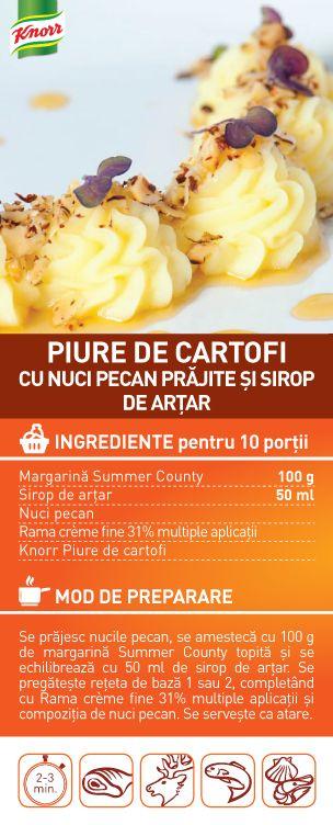 Piure de cartofi cu nuci pecan prajite si sirop de artar - RETETA