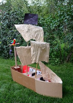 Cardboard Box Pirate Ship - By The Crafty Crow. Ya mever know when you may need to build a cardboard ship!