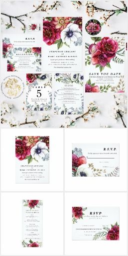 Modern Winter Red Flowers Wedding White anemones and dark red camellia flowers and roses in a winter flower bouquet. #floralwedding  #floralweddinginvitations  #weddinginvitations  #countrywedding #rusticwedding