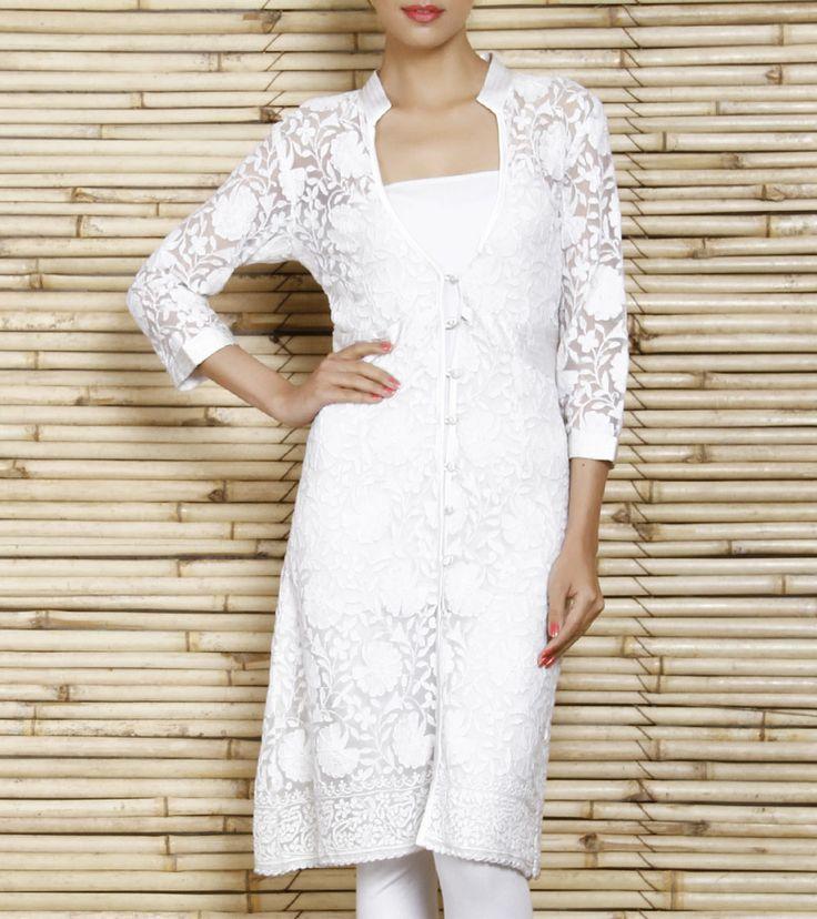 White Cotton Tunic With Chikankari