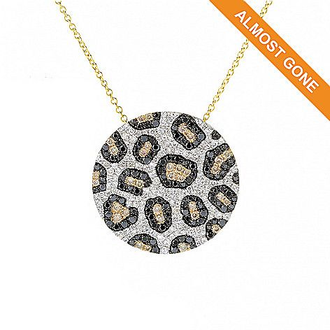 156-428 - EFFY 14K Gold 1.85ctw White, Black & Mocha Diamond Animal Print Pendant