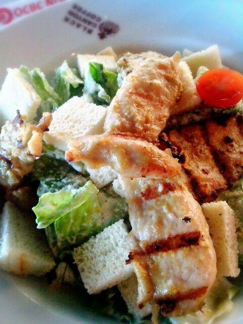Thai Caesar Salad with grilled chicken, taste a bit hot cause it has Thailand taste of Flavor