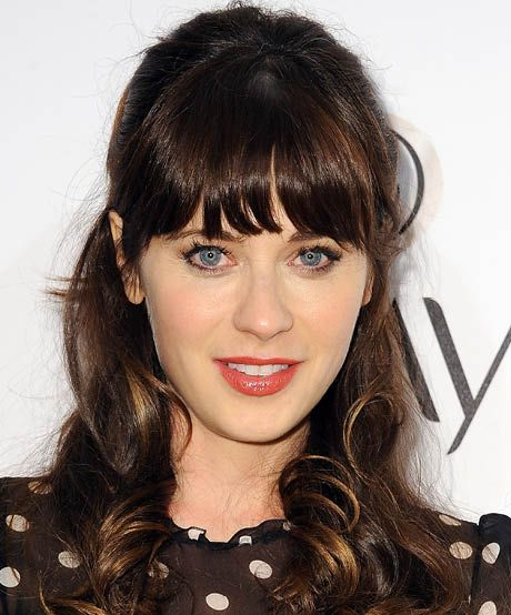 The best celebrity bangs for heart-shaped faces: Great for downplaying a more prominent chin, Zooey Deschanel's heavy, '60s-style bangs have become her signature.