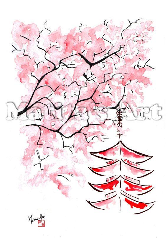 """""""Sakura in the Wind"""" by Matita's Art - Illustration of Martina Gallo - Japanese illustration"""