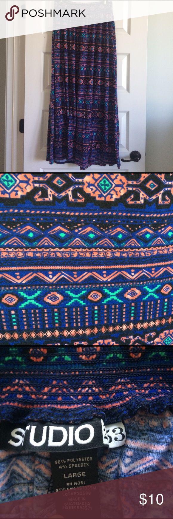 Aztec maxi skirt Comfy Aztec print maxi skirt with elastic waist Skirts Maxi