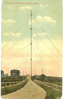 Postcard image, from around 1910, of the 128 meters (420 feet) tall Brant Rock radio tower. https://en.wikipedia.org/wiki/Reginald_Fessenden