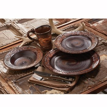 Bingham Canyon Dinnerware  Item # 11622-P The luster of hand-tooled copper, recreated in rustic, high-fired stoneware. The effect is warm and inviting for autumn. Each piece is handcrafted and one-of-a-kind. Microwave and dishwasher safe. Item ships directly from supplier in 4-6 weeks. Made in the USA.