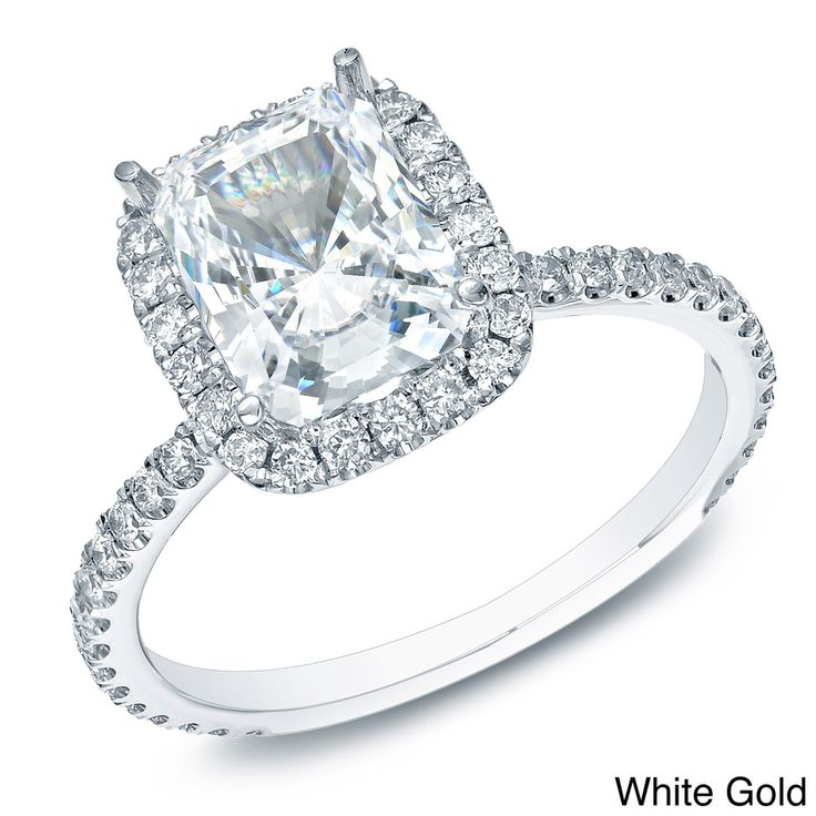 Are you ready to put a ring on it? How about this stunner? | Auriya 14k Gold 1 1/2ct TDW Certified Cushion Diamond Engagement Ring (H-I, SI1-SI2)