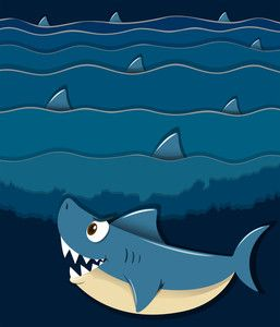 Illustration of a smiling big shark under the sea on a white ...