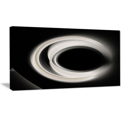 """DesignArt 'Fractal White on Black Background' Graphic Art Print on Wrapped Canvas Size: 20"""" H x 40"""" W x 1"""" D"""