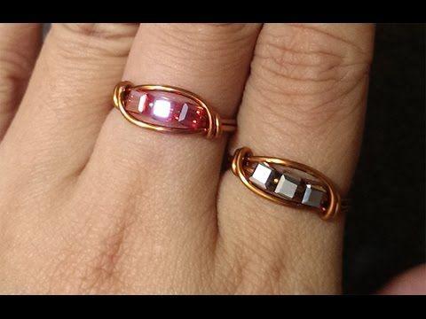 Hướng dẫn làm trang sức handmade- nhẫn có hạt - How to make wire ring - YouTube