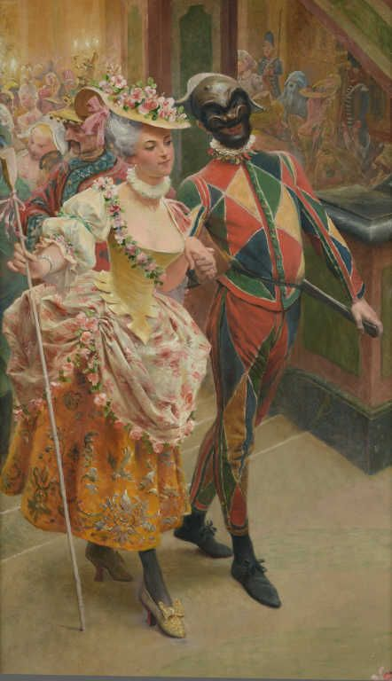 Maurice LELOIR (1853-1940) Les quatre saisons à Versailles et au Trianon Le bal masqué Huile sur toile signée en bas à gauche. 268 x 62 cm