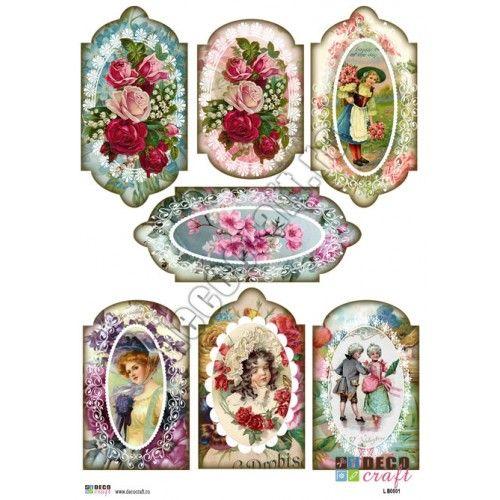 Hartie Decoupage Clasica : Hartie decoupage A4 - Etichete vintage