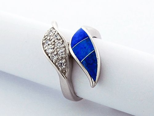 Blue Opal Ring with CZs