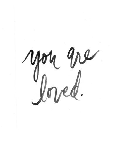 You Are Loved Black And White Watercolor Print Art Print
