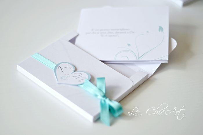 Partecipazione matrimonio mod. pocket con tag cuoricino Tiffany blue