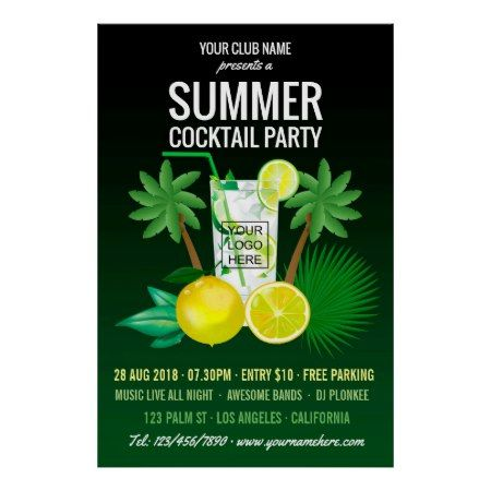 Summer Cocktails Club/Corporate Party Invitation Poster - click to get yours right now!