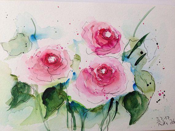 Original watercolor roses flowers watercolor painting image