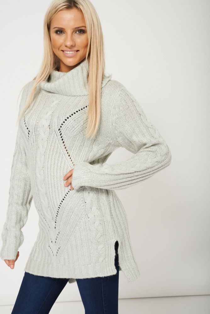 CHUNKY KNIT ROLL NECK GREY JUMPER This ones in the sale!!