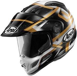 Arai XD-4 Diamante White Black Gold Motorcycle Adventure Dual Sport Helmet.