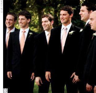 Black suit, peach ties! :)