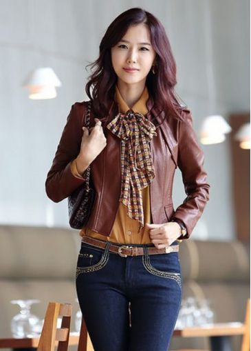 Cheap Stand Collar Puff Sleeve PU Jackets Wine Red