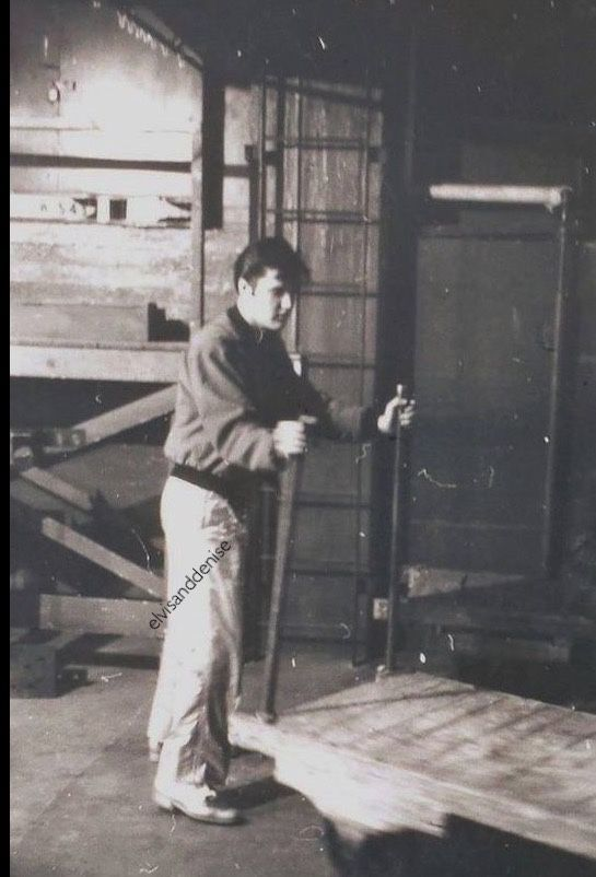 Two super rare pictures - Maple Leaf Gardens, Toronto, Canada. April 1957., behind the scenes playing around having rides on the trolley. Source Pauls Elvis page