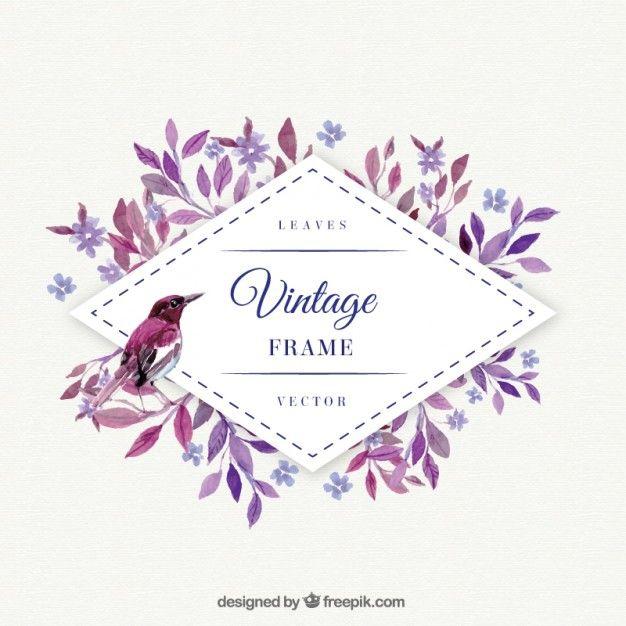 folhas roxas com frame do pássaro da aguarela Vetor grátis