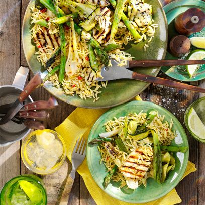 Dhruv Baker's asparagus, courgette and halloumi salad with rice | Brazilian recipes | Red Online