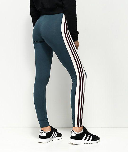 7eac14ac4b1 adidas Adibreak Midnight Blue & Burgundy Stripe 3 Stripe Leggings in ...