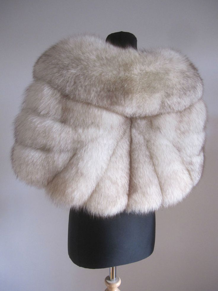 VTG IVORY WHITE ARCTIC BLUE NORWEGIAN FOX REAL FUR STOLE WRAP CAPE SHRUG WEDDING. Coming soon on eBay