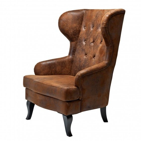 Fauteuil à oreilles Vintage - Imitation cuir marron | home24.ch