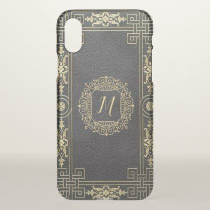 Monogram Template Elegant Classy Yellow Gold iPhone X Case - black gifts unique cool diy customize personalize