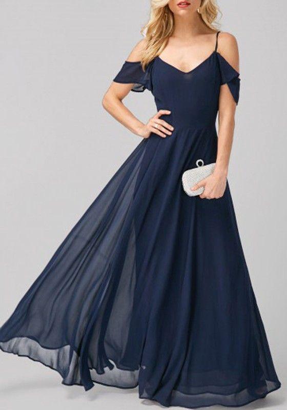 blue irregular short sleeve fashion maxi dress | cichic | pinterest