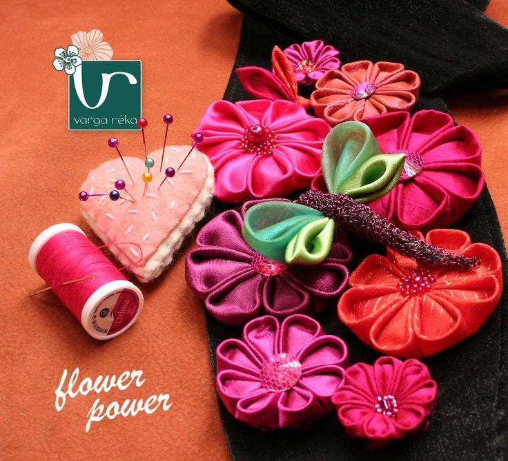 #kanzashi flowers #belt #unique #flower #pink #handmade www.vargareka.com
