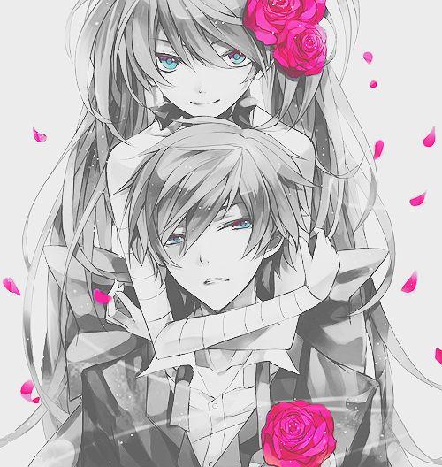 Cute anime couple roses