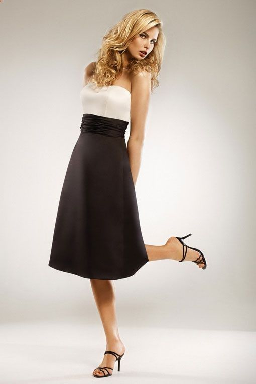 Strapless A-line with knee-length satin bridesmaid dress
