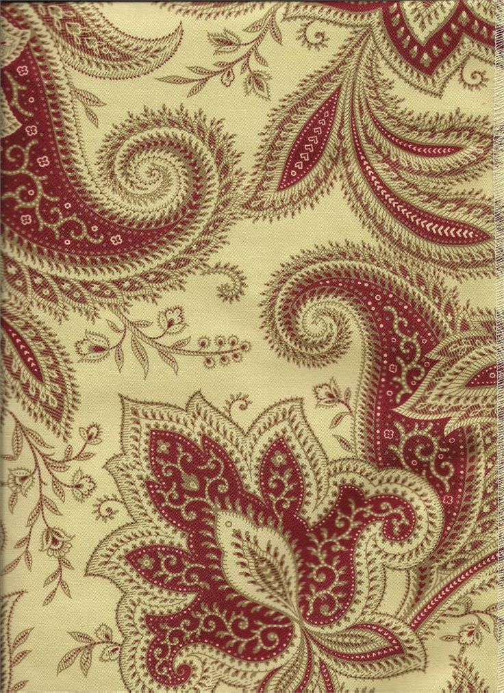 Rustic Retreat Crimson Red Creams And Taupe Colors For Paisley Print Fabric